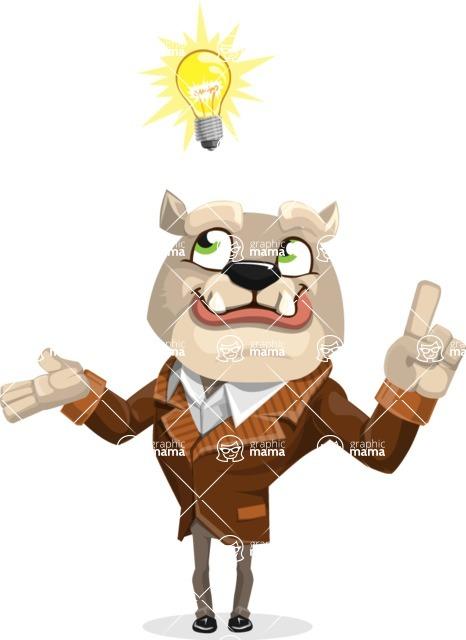 Bulldog Cartoon Vector Character AKA Baron Bulldog - Idea 2