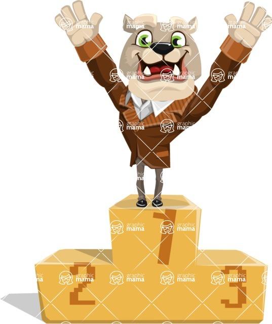 Bulldog Cartoon Vector Character AKA Baron Bulldog - On Top