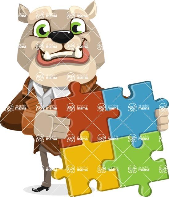 Bulldog Cartoon Vector Character AKA Baron Bulldog - Puzzle
