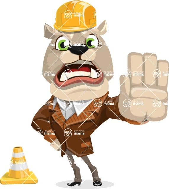 Bulldog Cartoon Vector Character AKA Baron Bulldog - Under Construction 1