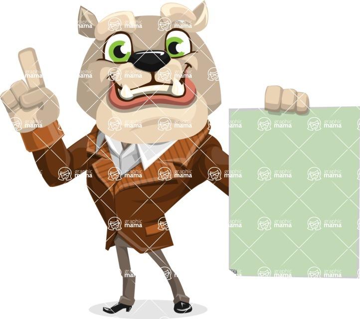 Bulldog Cartoon Vector Character AKA Baron Bulldog - Sign 2