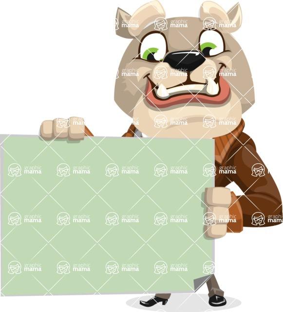 Bulldog Cartoon Vector Character AKA Baron Bulldog - Sign 3