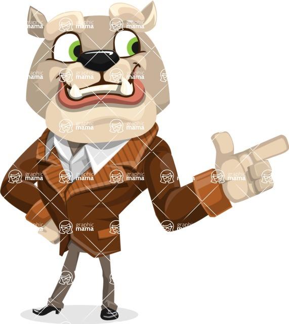 Bulldog Cartoon Vector Character AKA Baron Bulldog - Point
