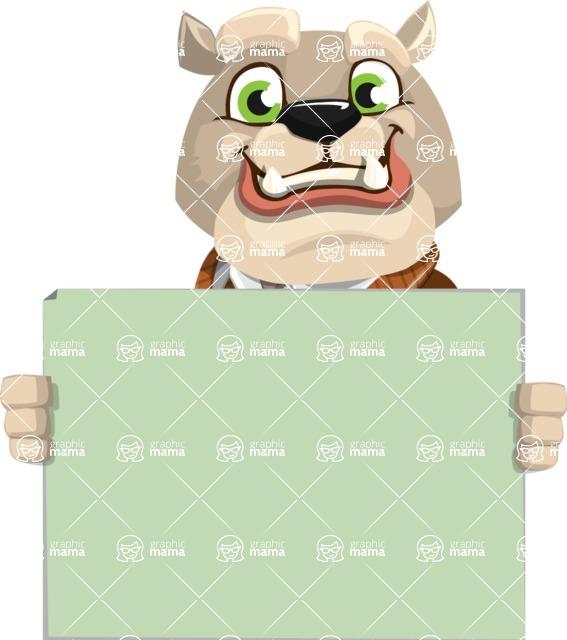 Bulldog Cartoon Vector Character AKA Baron Bulldog - Sign 5