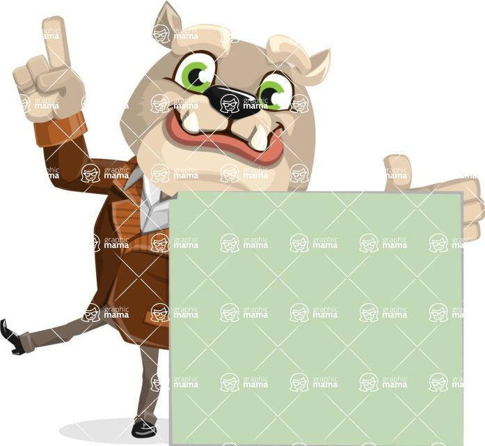 Bulldog Cartoon Vector Character AKA Baron Bulldog - Sign 7
