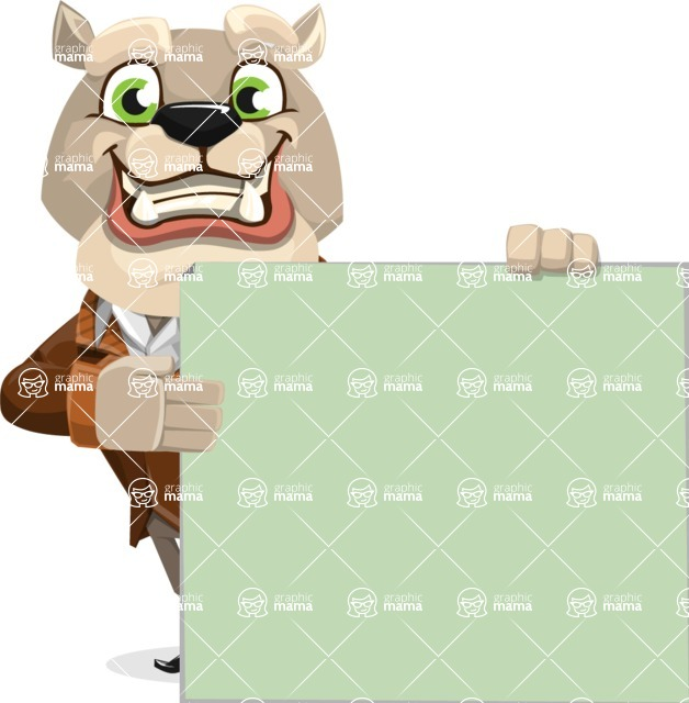 Bulldog Cartoon Vector Character AKA Baron Bulldog - Sign 8