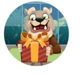 Bulldog Cartoon Vector Character AKA Baron Bulldog - Shape 2