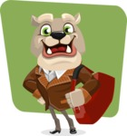 Bulldog Cartoon Vector Character AKA Baron Bulldog - Shape 6