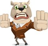Bulldog Cartoon Vector Character AKA Baron Bulldog - Stop