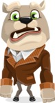 Bulldog Cartoon Vector Character AKA Baron Bulldog - Sad