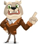 Bulldog Cartoon Vector Character AKA Baron Bulldog - Attention