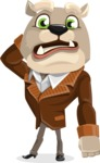 Bulldog Cartoon Vector Character AKA Baron Bulldog - Confused