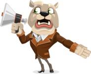 Bulldog Cartoon Vector Character AKA Baron Bulldog - Loudspeaker