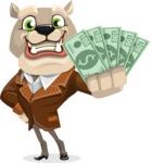 Bulldog Cartoon Vector Character AKA Baron Bulldog - Show me the Money