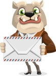 Bulldog Cartoon Vector Character AKA Baron Bulldog - Letter