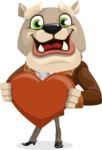 Bulldog Cartoon Vector Character AKA Baron Bulldog - Love