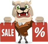 Bulldog Cartoon Vector Character AKA Baron Bulldog - Sale 2