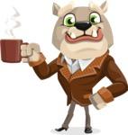 Bulldog Cartoon Vector Character AKA Baron Bulldog - Coffee