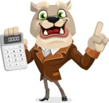 Bulldog Cartoon Vector Character AKA Baron Bulldog - Calculator