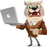 Bulldog Cartoon Vector Character AKA Baron Bulldog - Laptop 1