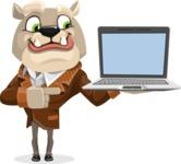 Bulldog Cartoon Vector Character AKA Baron Bulldog - Laptop 3