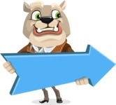 Bulldog Cartoon Vector Character AKA Baron Bulldog - Pointer 2