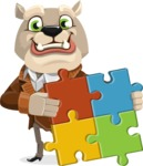 Bulldog Cartoon Vector Character AKA Baron Bulldog - Puzzle