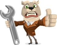 Bulldog Cartoon Vector Character AKA Baron Bulldog - Repair
