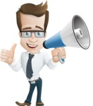 Businessman Cartoon Character АКА Charles Thumb-Up - Holding a Loudspeaker