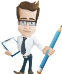 Businessman Cartoon Character АКА Charles Thumb-Up - With Notepad and Pencil