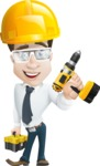 Businessman Cartoon Character АКА Charles Thumb-Up - Dressed as a Construction Worker