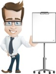 Businessman Cartoon Character АКА Charles Thumb-Up - With a Blank Presentation Board