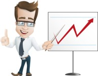 Businessman Cartoon Character АКА Charles Thumb-Up - Pointing Business Graph on a Whiteboard