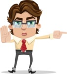 Entrepreneur Man Cartoon Vector Character AKA Clark Executive - Direct Attention