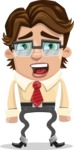 Entrepreneur Man Cartoon Vector Character AKA Clark Executive - Stunned