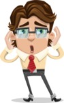 Entrepreneur Man Cartoon Vector Character AKA Clark Executive - Shocked