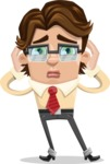 Entrepreneur Man Cartoon Vector Character AKA Clark Executive - Confused
