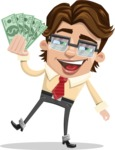 Entrepreneur Man Cartoon Vector Character AKA Clark Executive - Show me the Money