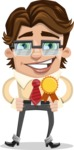 Entrepreneur Man Cartoon Vector Character AKA Clark Executive - Ribbon