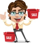 Entrepreneur Man Cartoon Vector Character AKA Clark Executive - Sale