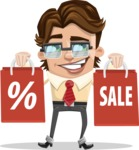 Entrepreneur Man Cartoon Vector Character AKA Clark Executive - Sale2