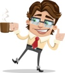 Entrepreneur Man Cartoon Vector Character AKA Clark Executive - Coffee