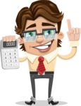 Entrepreneur Man Cartoon Vector Character AKA Clark Executive - Calculator