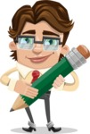 Entrepreneur Man Cartoon Vector Character AKA Clark Executive - Pencil