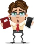 Entrepreneur Man Cartoon Vector Character AKA Clark Executive - Book and iPad