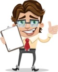 Entrepreneur Man Cartoon Vector Character AKA Clark Executive - Notepad 1