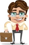 Entrepreneur Man Cartoon Vector Character AKA Clark Executive - Brifcase 2