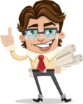 Entrepreneur Man Cartoon Vector Character AKA Clark Executive - Plans