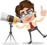 Entrepreneur Man Cartoon Vector Character AKA Clark Executive - Telescope