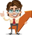 Entrepreneur Man Cartoon Vector Character AKA Clark Executive - Pointer 1